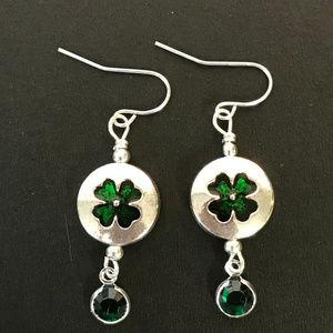 4 Leaf Clover Silver Toned Pierced Earrings